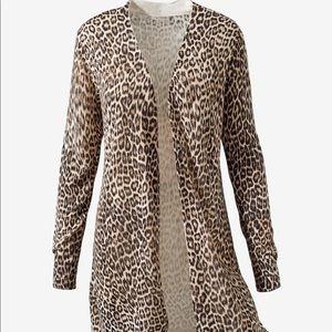Chico's Leopard Cheetah Print Cardigan Sweater